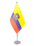 Ecuador Desk / Table Flag with chrome stand and base.